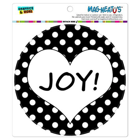 Joy Heart Black Polka Dots Wedding Bridal Valentines Love - Circle MAG-NEATO'S(TM) Car/Refrigerator - Wedding Magnets