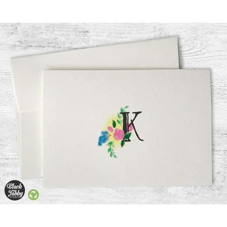 - Floral Monogram (Letter K) - Stationery Cards