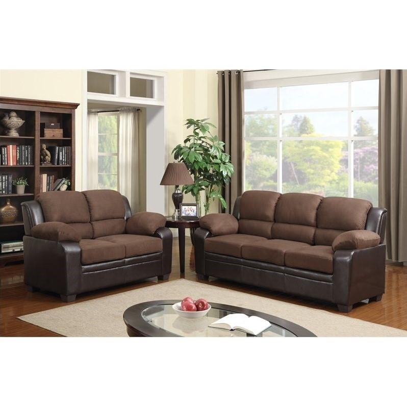 Global Furniture Usa 2 Piece Microfiber Sofa Set in Brown