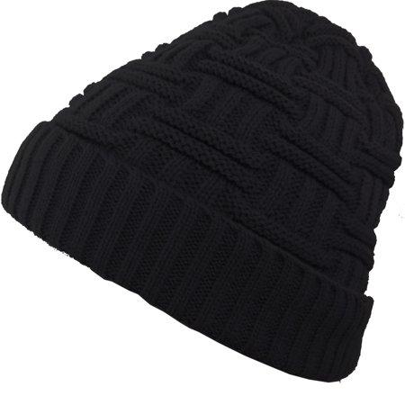 b4701301cd636 DEBRA WEITZNER - Mens Slouchy Beanie Wool Knit Winter Hat Skull Cap With Fur  Lining Black By Debra Weitzner - Walmart.com