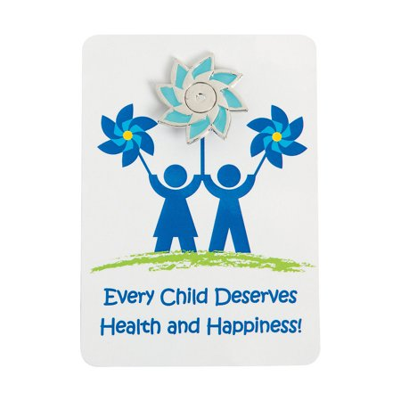 Pinwheel Brooch Pin - Fun Express - Child Abuse Pinwheel Pin On Card - Jewelry - Pins - Pin & Card Sets - 12 Pieces