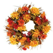 Fall Mum Wreath by OakRidge, 18 Diameter, Silk Floral Autumn Home Dcor for Indoor/Outdoor Use