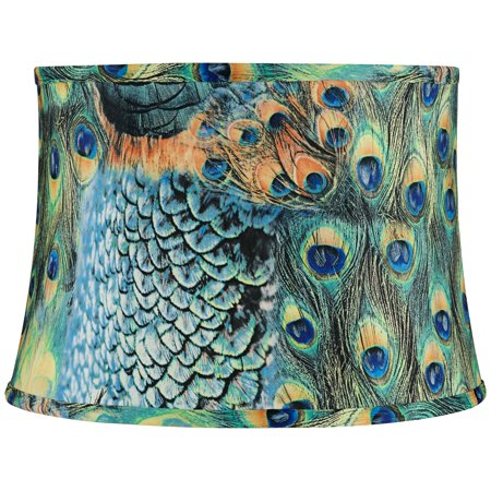 Springcrest Peacock Drum Lamp Shade Cotton Fabric with Harp 14x16x11 - Spider Blue Gingham Lamp Shade
