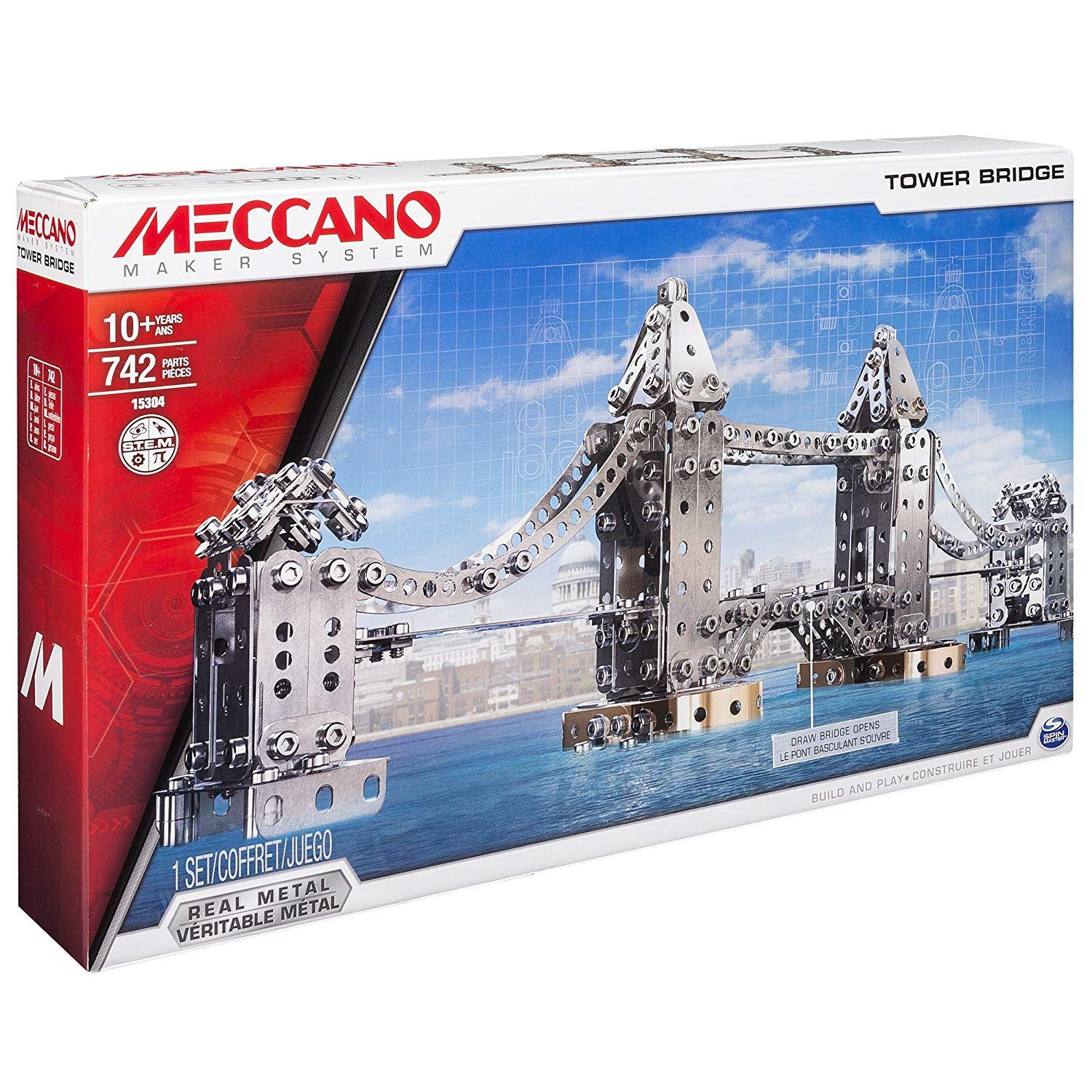 Meccano Tower Bridge Model Toy STEM Building Set Kit 742 Pieces