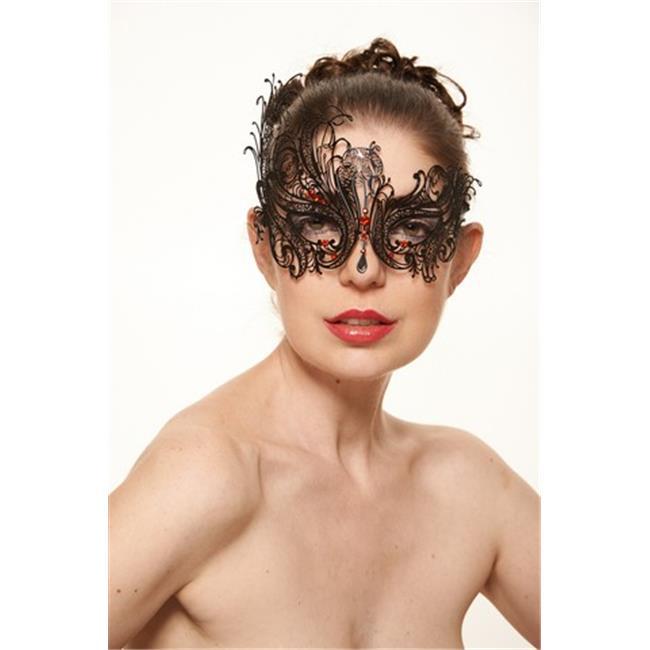 Kayso BF001RDBK Black Swirly Majestic Swan Masquerade Mask with Red Rhinestones - One Size - image 1 de 1