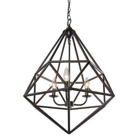 - Varaluz Facet Three Light Pendant - Forged Iron