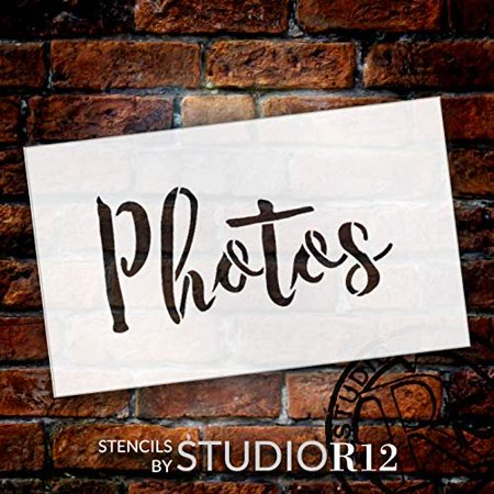 Wedding Sign Word - Photos - Rustic Script Stencil by StudioR12 | Reusable Mylar Template | Use to Paint Wood Signs - Pallets - Pillows - DIY Wedding Decor - Select Size (7