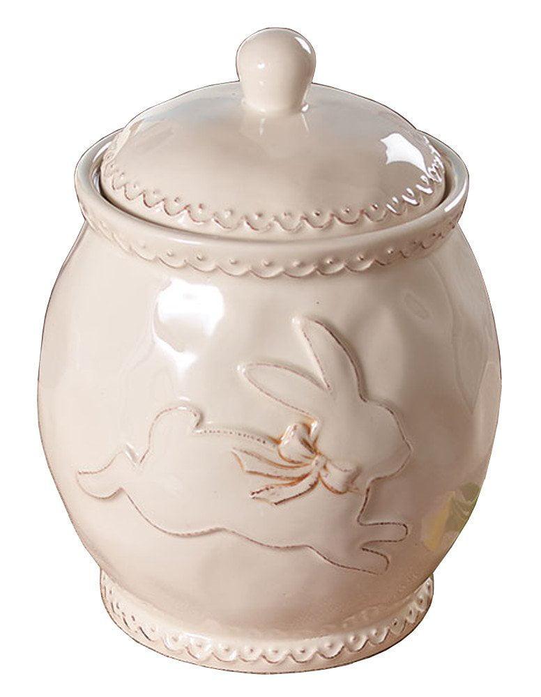 """Click here to buy Burton & Burton Raised Easter Bunny Ceramic Cookie Jar Cream 8"""" Tall by Burton and Burton."""