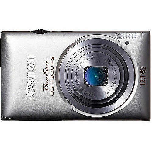 """Canon PowerShot ELPH 300 HS Silver 12.1MP Digital Camera with 5x Optical Zoom, 3.0"""" LCD, 1080p HD Video"""