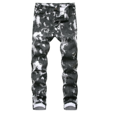 Tie-dye Straight Denim Jeans For Mens Boys Stretch Skinny Zipper Trousers Hip Hop Slim Fit Pants Outwear Streetwear