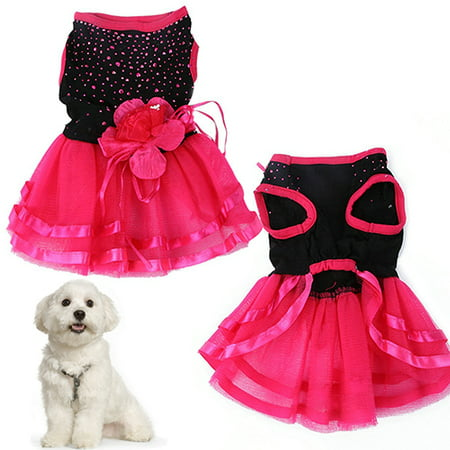 Girl12Queen Pet Dog Rose Flower Gauze Tutu Dress Skirt Puppy Cat Princess Clothes - Dog Tutu