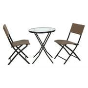 OSP Designs, 3 Piece Set- 1 Folding Round Metal Table w/ 2 Folding Chairs