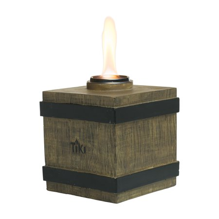 TIKI® Brand 7-Inch Clean Burn Fire Crate Resin Table Torch Brown - Tabletop Tiki Torches