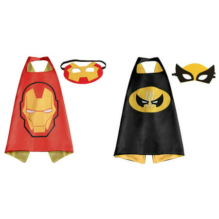 Ironman & Wolverine Costumes - 2 Capes, 2 Masks with Gift Box by - Wolverine Mask Kids
