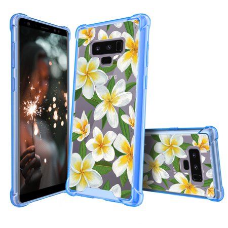 (Ultra Clear MINITURTLE Case Compatible with Samsung Galaxy Note 9 (2018) [Floral Print Series] [Clear & Blue Bumper] Slim Transparent Case[Blue] - Hawaiian Flowers)