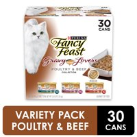 (30 Pack) Fancy Feast Gravy Wet Cat Food Variety Pack, Gravy Lovers Poultry & Beef Feast Collection, 3 oz. Cans