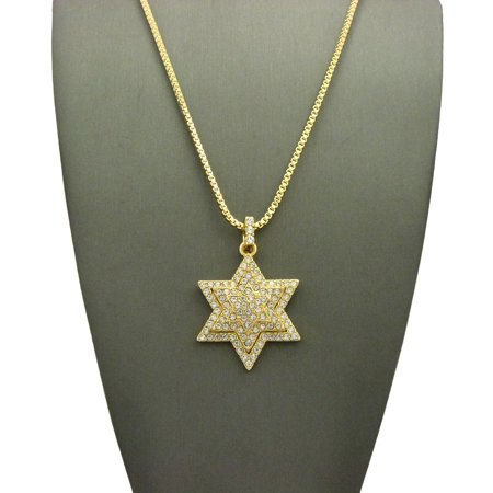 Stone Stud 3D Star of David Pendant with Chain Necklace - 2mm 24