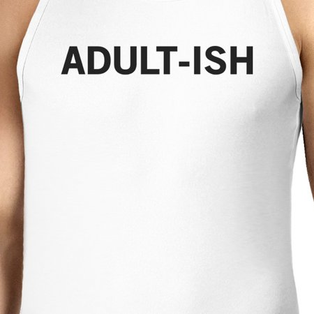 400155b1fb79fe 365 Printing - Adult-ish Mens White Sleeveless Tank Top Trendy Typography  Top - Walmart.com
