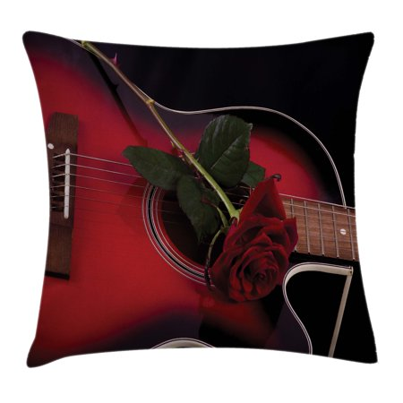 Red and Black Throw Pillow Cushion Cover, Spanish Musician Portugal Hand Made Guitar with Romance Theme Love Rose, Decorative Square Accent Pillow Case, 18 X 18 Inches, Ruby and White, by Ambesonne (Rosa Portugal)