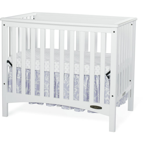 Child Craft London Euro Mini 2-in-1 Fixed-Side Convertible Crib and Mattress, White