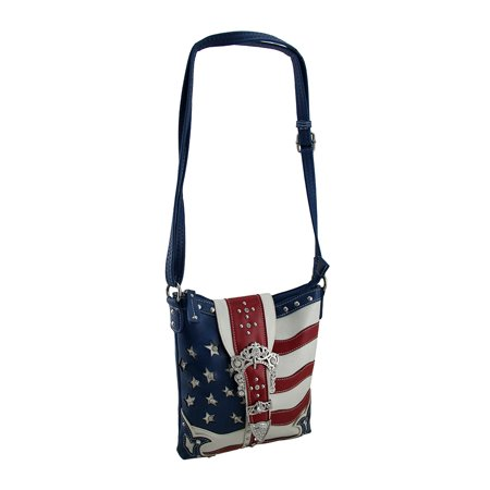 Rhinestone Stars American Flag Concealed Carry Crossbody Purse Color And Carry Messenger Bag