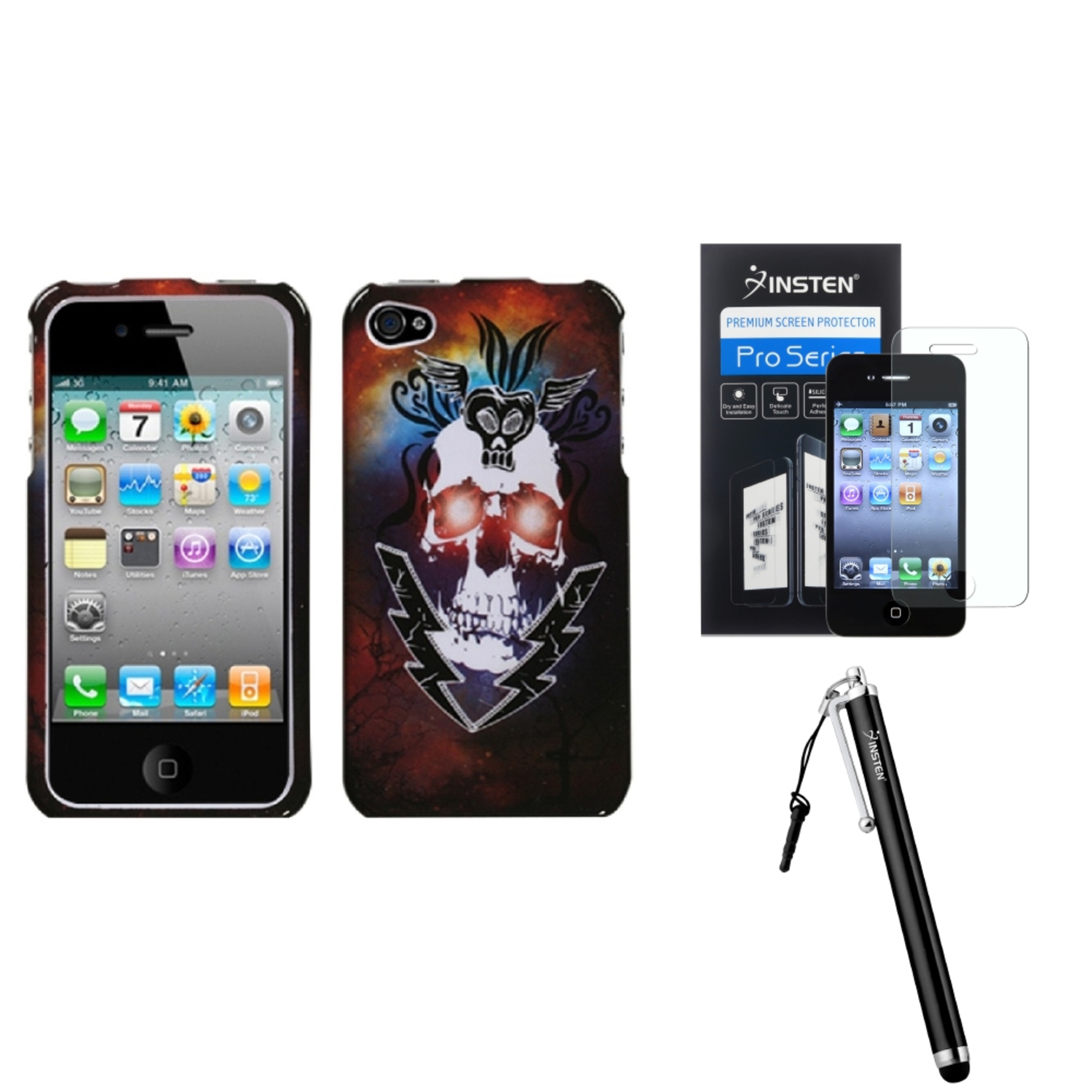 Insten Lightning Skull Phone Case For iPhone 4 4S + Stylus + LCD Guard