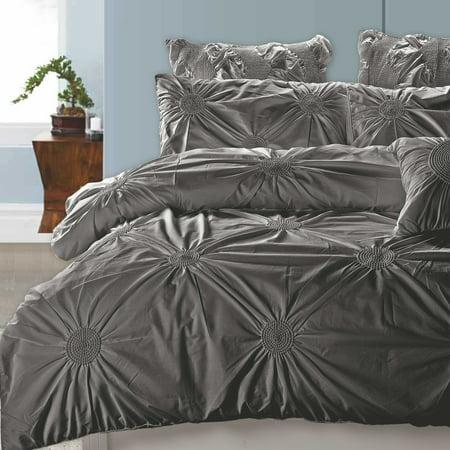 California Design Den Tahiti Pearls Duvet Cover Set Cotton Charcoal, King 3 piece