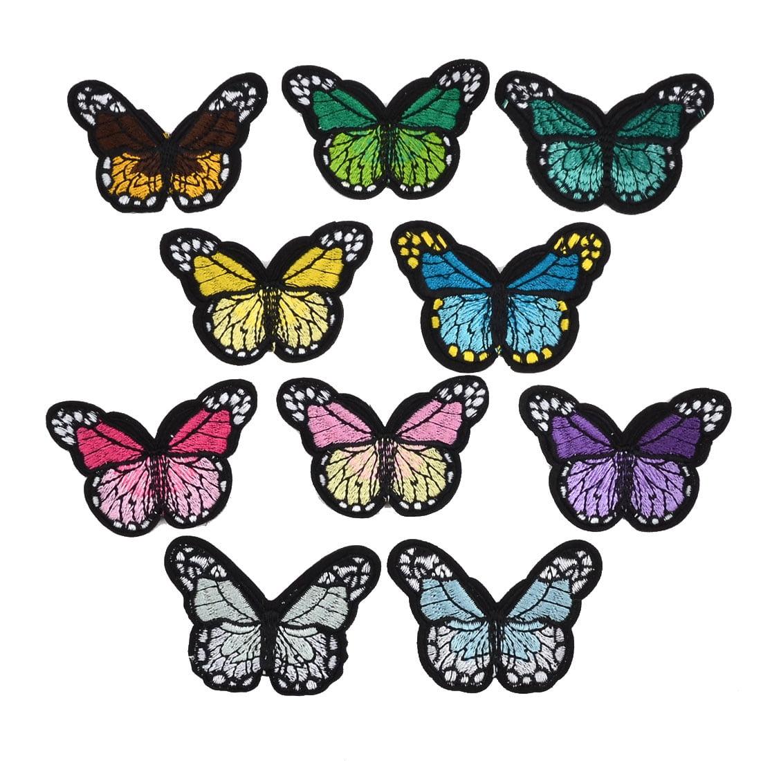 Unique Bargains Home Polyester Butterfly Shape DIY Sewing Clothes Lace Applique Multicolor 10pcs