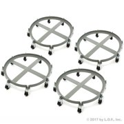 4 Drum Dolly 2000 lb 55 Gal Iron Swivel Casters Ultra Heavy Duty Steel Frame 8 Wheels by Red Hound Auto