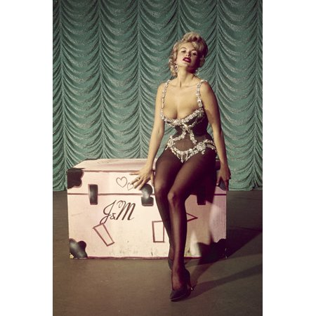 Jayne Mansfield busty showgirl outfit sitting on initialed trunk 24x36 - Showgirl Outfit