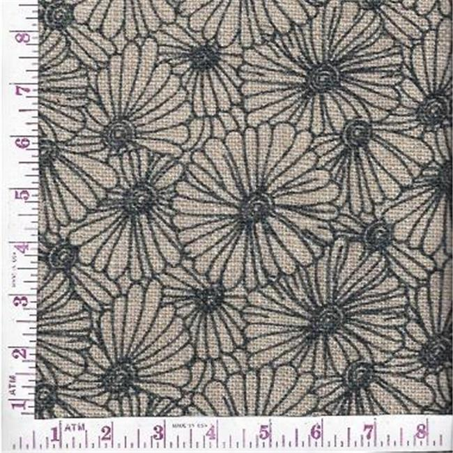 Textile Creations BLV-120 Burlap Printed, Floral All Over Grey On Natural