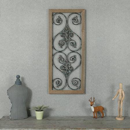 Rectangular Wood Wall (Rectangular Wood and Metal Scroll Wall Decor)
