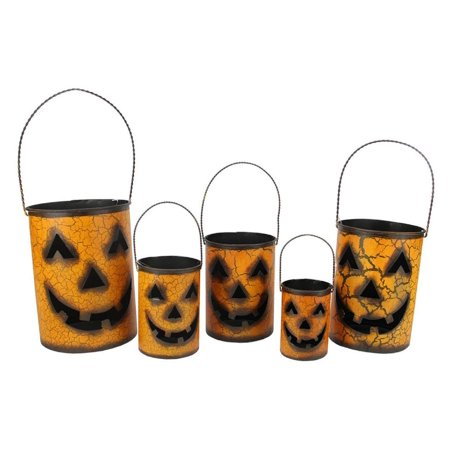 Set of 5 Nesting Luminary Jack-O-Lantern Pumpkin Halloween Container - Pumpkin Basket