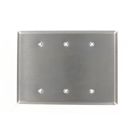 Leviton 84133-40 Stainless Steel NON-MAG Oversized 3-Gang No Device Blank Wallplate