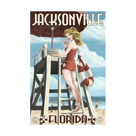 Jacksonville Beach, Florida - Lifeguard Pinup Girl Print Wall Art By Lantern Press - Healthy Halloween Jacksonville Beach