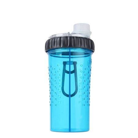 Dexas Mini Duo Snack/Hydration Bottle Blue Medium for Pets 16oz