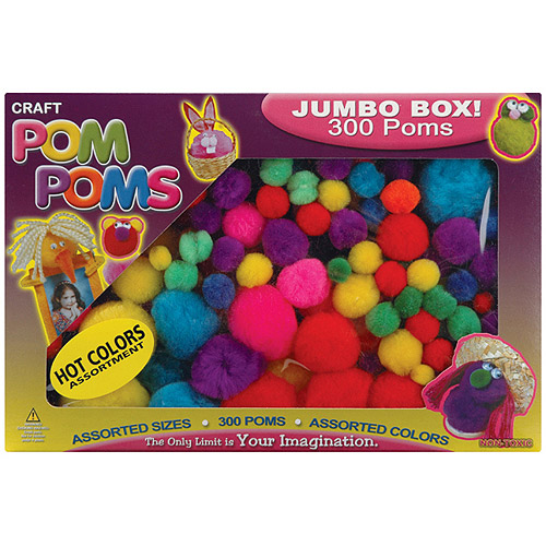 Pepperell Pom Poms, Assorted Hot Colors, 300-Pack