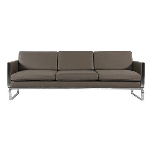 Orren Ellis Yunior Mid Century Modern Leather Sofa Walmart Com