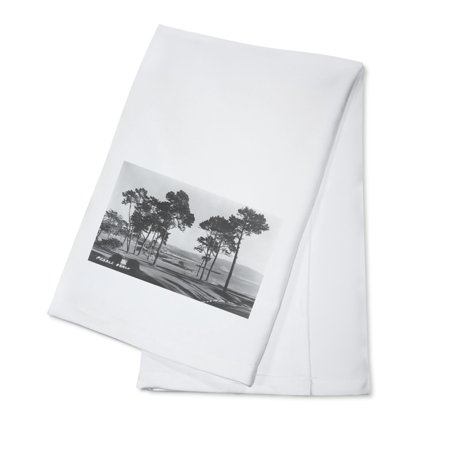 Pebble Beach, California - Golf Course Coast View - Vintage Photograph (100% Cotton Kitchen Towel)