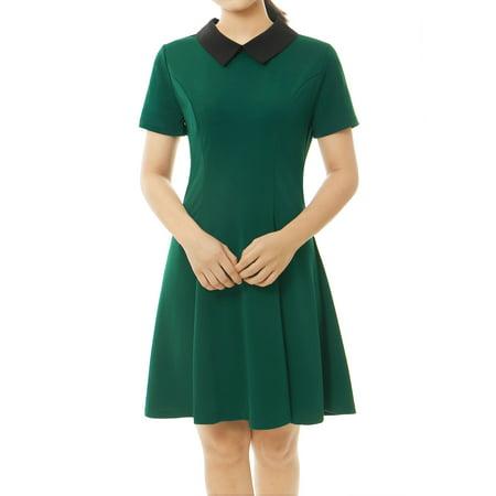 Women Contrast Doll Collar Short Sleeves Flare Dress Green S - Disney Green Dress