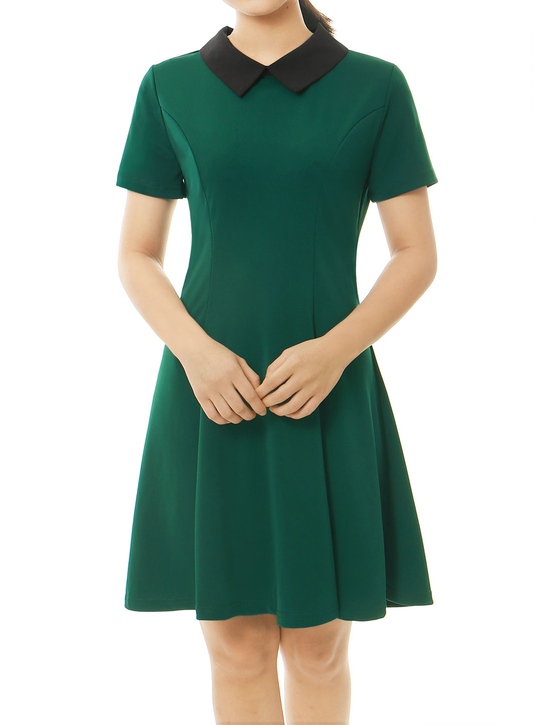 Women Contrast Doll Collar Short Sleeves Flare Dress Green S