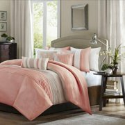 Madison Park Amherst 6-Pc Pintucked Colorblock Duvet Cover Set FULL QUEEN Coral