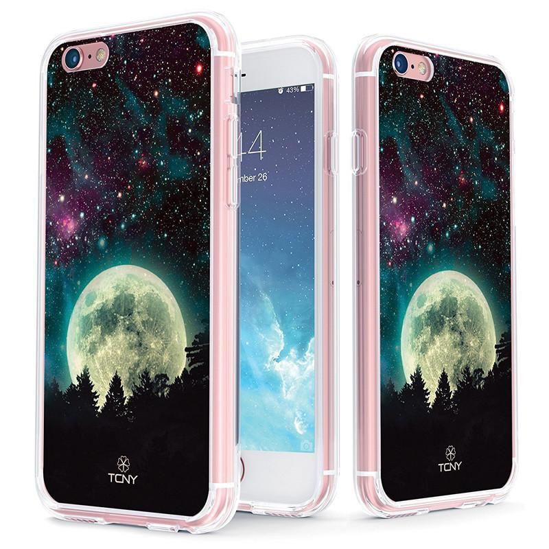 iPhone 6s Case - True Color Clear-Shield Full Moon [Galaxy Collection] Printed on Clear Back - Soft and Hard Thin Shock Absorbing Dustproof Full Protection Bumper Cover