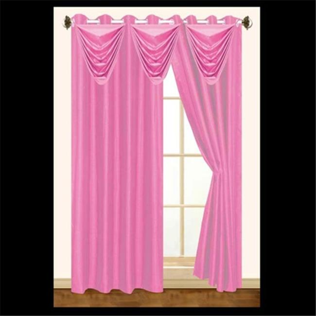 Editex 627VAL3709 Elaine Waterfall Faux Silk Valance with 2 Grommets without Trim in Fuchsia