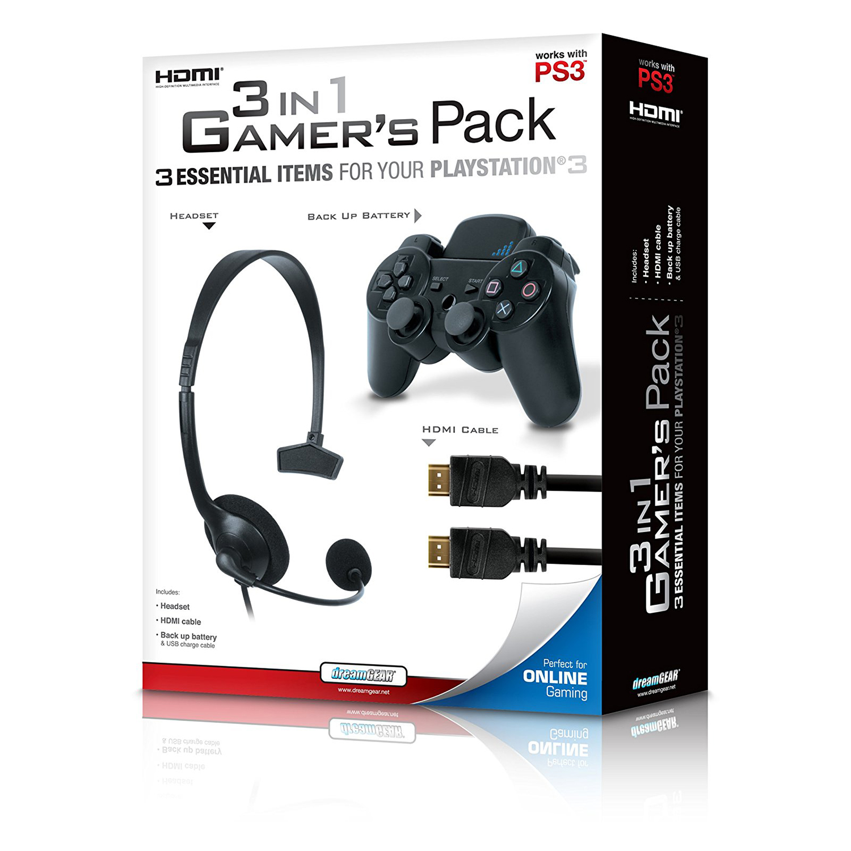 dreamGEAR DGPS3-3827 PlayStation3 3-in-1 Gamer's Pack Bundle