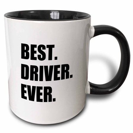 3dRose Best Driver Ever - fun gift for good drivers - driving job gift - text - Two Tone Black Mug,
