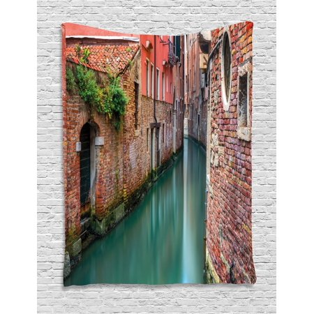 Venice Tapestry, Scenic Water Canal and Old Historic Buildings Houses Brick Walls, Wall Hanging for Bedroom Living Room Dorm Decor, Orange Dark Coral Jade Green, by Ambesonne