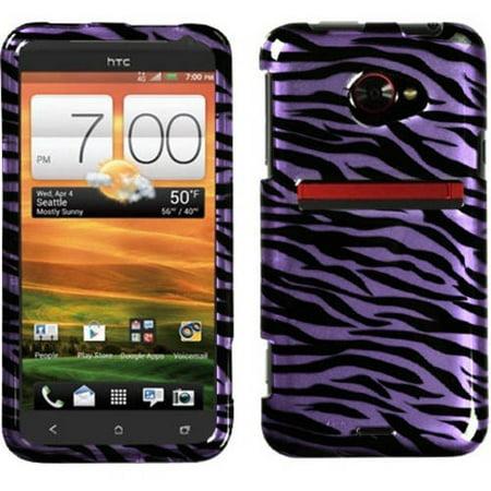 HTC Evo 4G LTE MyBat Protector Case, Zebra Skin Purple/Black/2D (2d Purple Zebra)