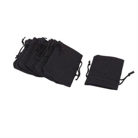 Bride Wedding Cotton Linen Gift Jewelry Drawstring Storage Bag Pouch Black 10pcs (Bride Bags)
