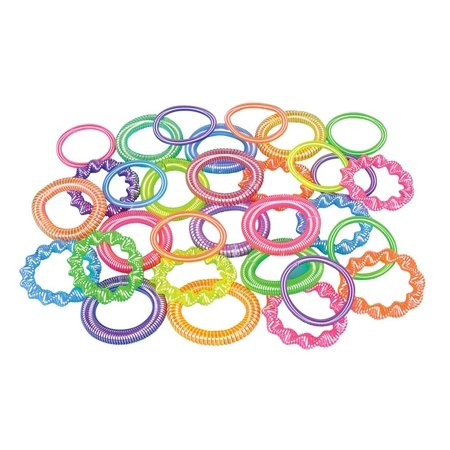 12 Plastic Coil Spring Bracelets ~ Assorted Colors / Shapes ~ New ~ Party Favors, Prizes, Play Jewelry, 12 ~ Plastic Coil Spring Bracelets ~ assorted colors.., ,USA